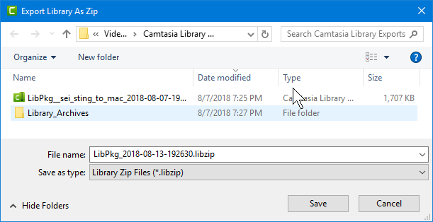 Camtasia 2018 Windows Export Library as Zip